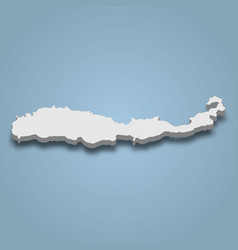 3d isometric map flores is an island vector
