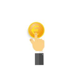 A businessman clicks on a euro coin vector