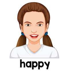 a girl with happy facial expression vector image