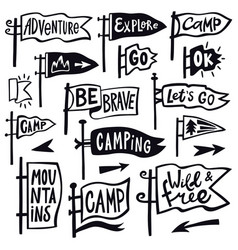 adventure hiking pennant hand drawn camping vector image