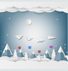 airplane white floating and gift box in the sky vector image