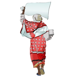 An African woman with a sack of flour on his head vector image