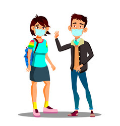asian teen girl boy wearing a face mask in the vector image