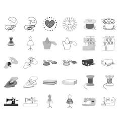 Atelier and equipment monochromeoutline icons in vector
