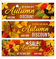 Autumn sale discount banners set vector