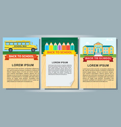 Back to school color posters set vector