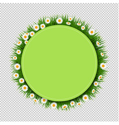 banner ball with grass and flower transparent vector image