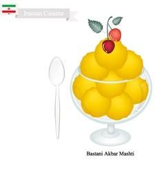 Bastani Akbar Mashti or Iranian Saffron Ice Cream vector image