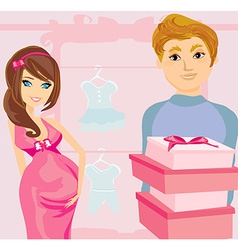 beautiful pregnant woman and her happy husband on vector image vector image