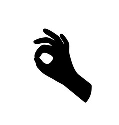 Black hand silhouette like ok gesture vector