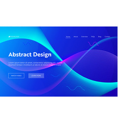 Blue abstract geometric wave landing page vector