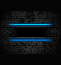 blue neon stripes on grunge brick wall background vector image