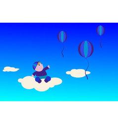 boy-on-a-cloud vector image