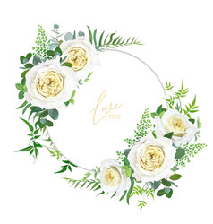 Bright light yellow and greenery floral frame vector