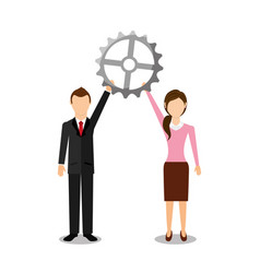 Businesspeople teamwork avatars characters icon vector