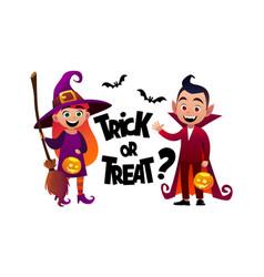 cartoon children witch and vampire costume trick vector image