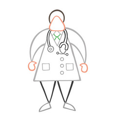 cartoon doctor man standing with stethoscope vector image