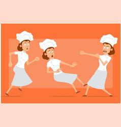 cartoon flat chef cook woman character set vector image