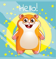Cartoon hamster hello vector