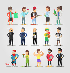 Cartoon people professions set with musician vector