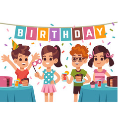 children birthday party kids celebrating vector image