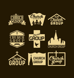 Christian logos banners and stickers vector