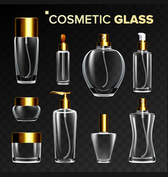 cosmetic glass set empty glass bottle vector image
