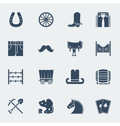 Cowboy pictograms wild west icons isolatedon white vector image