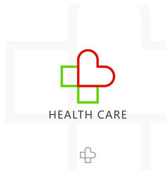 Cross plus heart medical logo icon design vector