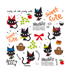 cute cat cartoon doodle vector image