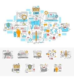 Digital Marketing Linear Concept vector