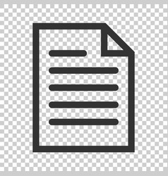 Document note icon in flat style paper sheet on vector