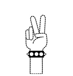 dotted shape hand with bracelet and peace and love vector image