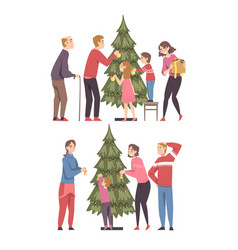 family decorating christmas tree set parents vector image