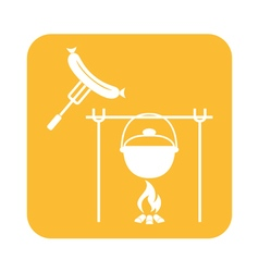 Fire pot and sausage icon vector