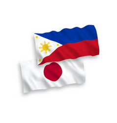 Flags japan and philippines on a white vector