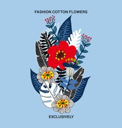 floral bouquet for textile design vector image