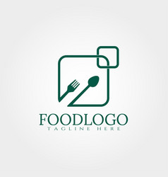 Food logo design with fork and spoons concept vector