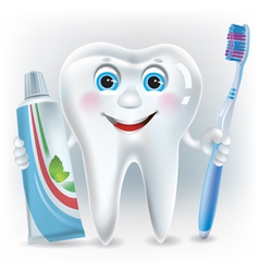 Funny tooth with toothpaste and toothbrush vector