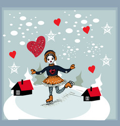 Girl skating at the rink in front of the houses vector