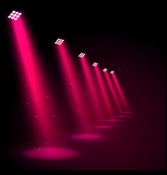 Glowing pink spotlights vector