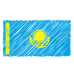 hand drawn national flag of kazakhstan isolated on vector image
