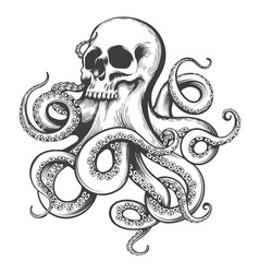 Hand drawn tattoo skull with octopus tentacles vector