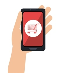 Hand hold smartphone cyber monday shop vector