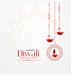 Hanging diwali diya lovely festival background vector