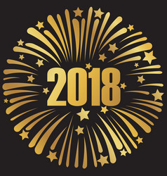 happy new year 2018 golden sign vector image
