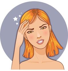 Ill girl complaints about headache vector