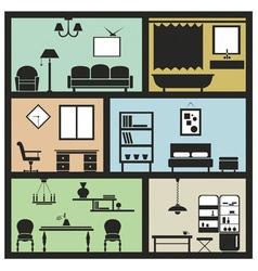 Interior furniture icons vector