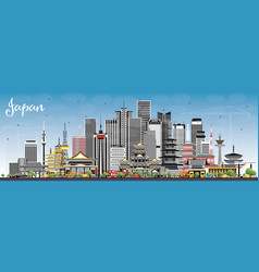 Japan city skyline with gray buildings and blue vector