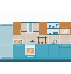 Kitchen interior flat design with home furniture vector image